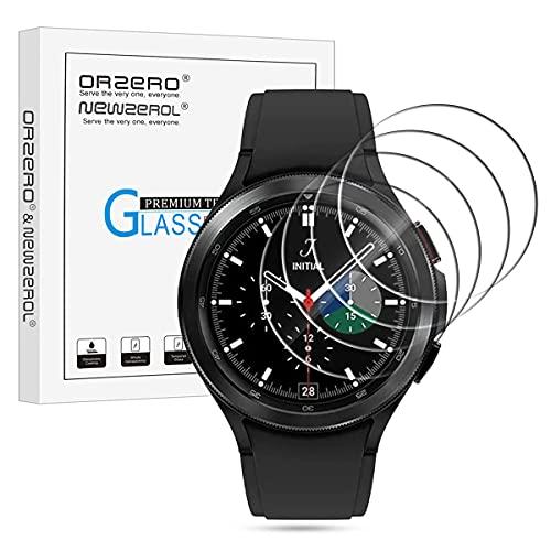 NEWZEROL 4 Stück Panzerglas Kompatibel für Samsung Galaxy Watch 4 Classic 46mm Schutzfolie 2.5D Arc Edges 9H Glas Displayschutz Anti-Kratzer blasenfrei Schutzfolie - Klar
