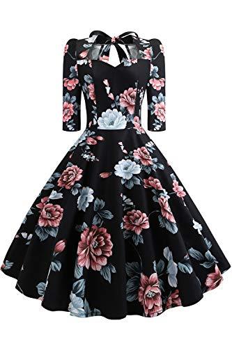 MisShow Damen Neckholder Langarmkleid 50er Retro Vintage Faltenrock Winterkleider Herbst Blumenkleider S