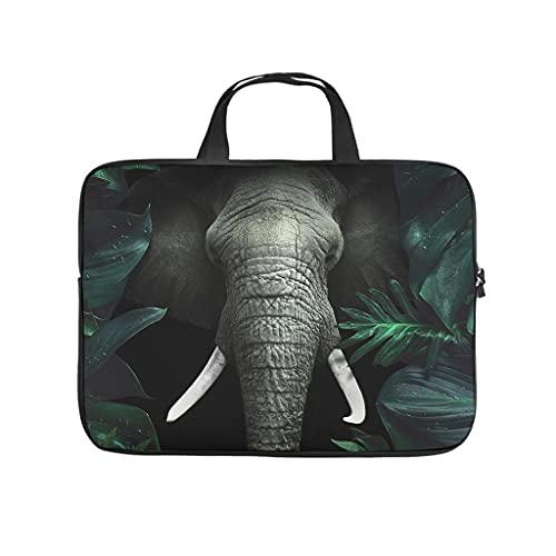 Facbalaign Funda para portátil con diseño de elefante verde tropical tropical con asa, duradera, resistente a los arañazos