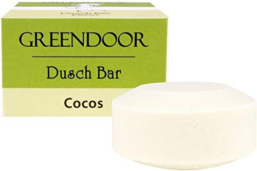 Greendoor Dusch Bar Cocos 75g, ca 25 Anwendungen, festes Duschgel, Natur Solid Bar mit Bio Cocosextrakt, Haut-mild, ohne Palmöl Sulfate Plastik, Naturkosmetik natürlich ohne Tierversuche, Kokos