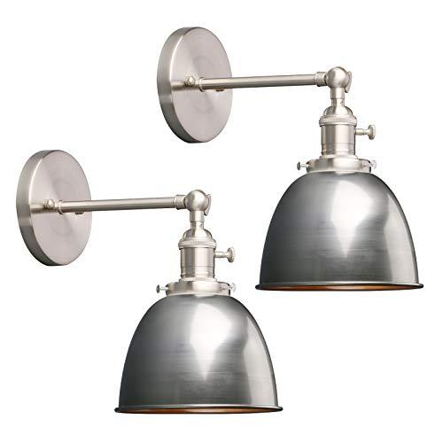 Phansthy 2 Stücke Deckenhalbkreis mit Metall-Schirm Wandbeleuchtung Wandleuchten Vintage Industrie Loft-Wandlampen Antik Deko Design Wandbeleuchtung Küchenwandleuchte (Klarlack)