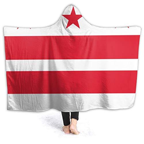 ZQHRS Linda Manta Suave de Felpa Manta para niñas Manta de Lana Negra Regalos para niños Adultos Mujeres, Rojo Blanco Bandera de Washington DC 60x50 Pulgadas