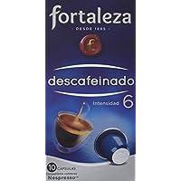 Café FORTALEZA - Cápsulas de Café Descafeinado Compatibles con Nespresso - Pack 1 x 10 - Total 10 cápsulas.