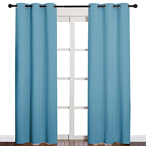 NICETOWN Window Treatment Thermal Insulated Solid Grommet Blackout Curtains/Drapes for Bedroom (Teal Blue, Set of 2 Panels, 42 by 84 Inch)