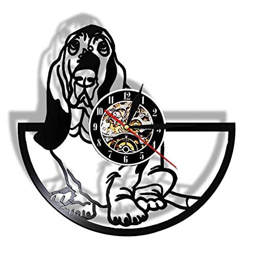 Reloj de Vinilo para Pared, Regalo para Amantes de los Perros, Basset Hound, Aseo de Perros, Reloj de Vinilo Hecho a Mano, decoración artística, Reloj de Pared con Animales-NO_LED