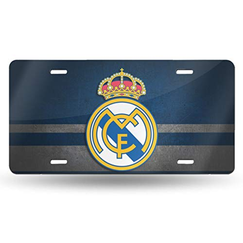 AQC16FC Real Madrid Decorative Car Front License Plate,Vanity Tag,Metal Car Plate,Aluminum Sports Fan License Plate Covers,6x12 Inch (4 Holes)