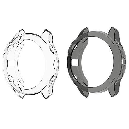 LvBu Schutzhülle kompatibel Für Garmin Fenix 6, All-Around Case Ultra dünn TPU Schutz Hülle für Garmin Fenix 6 Pro/Garmin Fenix 6 / Garmin Fenix 6 Sapphire Smartwatch [2 Stück] (Schwarz + Transparent)