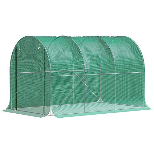 Outsunny Polytunnel-Gewächshaus, Pflanzenabdeckung Frostschutz, begehbares Polytunnel, Stahlrohr, HDPE-Sonnenschutz, dunkelgrün 3x2x2 m