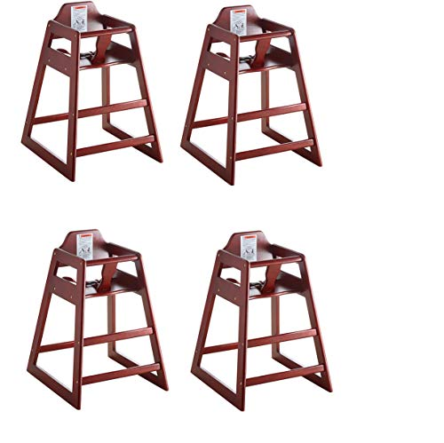 Lancaster Mahogany Finish Stacking Restaurant Wood High Chair 4 Pack Solid Wood Stacking Stackable