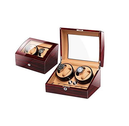 SMSOM Reloj Winder para 4 Relojes automáticos, con 6 almacenes adicionales de Reloj, Acabado de Piano de Carcasa de Madera, Motor silencioso, Almohada de Reloj Flexible (Color : Red)