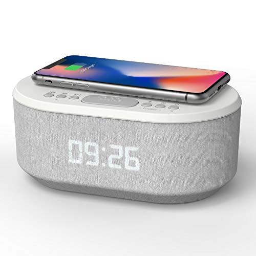 Bedside Wireless Charging Radio Alarm Clock with Dimmable LED Display - Non...