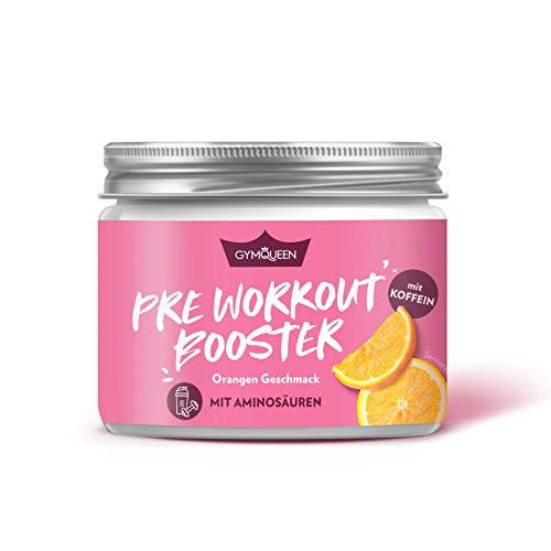 GymQueen Pre-Workout Booster Orange 300g, Getränkepulver Booster mit verzweigtkettigen Aminosäuren (BCAAs) im optimalen Verhältnis, 200mg Koffein und Vitamin B12 für mehr Power und Energie im Training