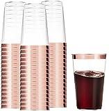 100 copos de plástico em ouro rosa 473 ml copos de plástico transparente copos de casamento descartáveis elegantes copos de festa com aro de ouro rosa