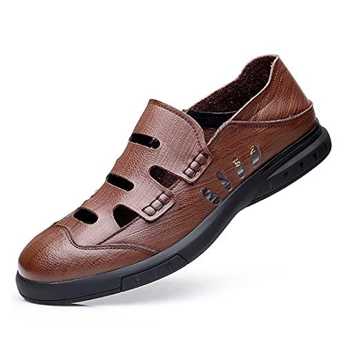 CAOJJ Mocasines casuales para hombre, de piel vegana, con costuras superiores, zapatos de vestir y tacón de bloque plano, marrón, 95