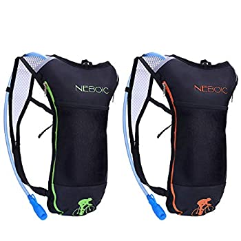 Neboic 2Pack Hydration Backpack Pack with 2L Hydration Bladder - Lightweight Water Backpack Keeps Water Cool up to 4 Hours with Big Storage for Kids Women Men Hiking Cycling Camping Music Festival