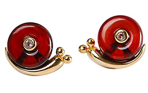CHXISHOP Pendientes de mujer de plata de ley 925 chapados en oro con sangre, ámbar y caracol de moda, simples pendientes adecuados para niñas y mujeres