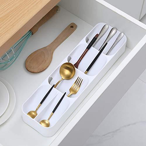 Bandeja organizadora de cubiertos, para organizador de cajones de cocina, ahorro de espacio de almacenamiento multiusos para cubiertos, utensilios, cuchara, tenedor (2 piezas) (B)