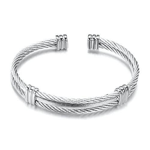 Aniversario del día de la madre Línea de alambre de resorte Pulsera de acero de titanio colorido Estiramiento Brazaletes de cable de acero inoxidable para mujeres Regalo de cumpleaños de San Valentín