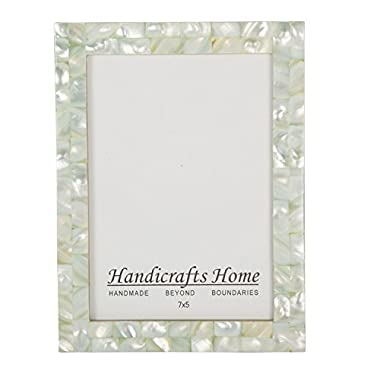 5x7 Picture Frames Chic Photo Frame Mother of Pearl Handmade Vintage from Handicrafts Home (5x7, Green)