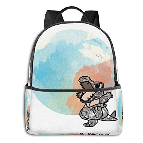 IUBBKI Mochila lateral negra Mochilas informales Totodile Student School Bag School Cycling Leisure Travel Camping Outdoor Backpack