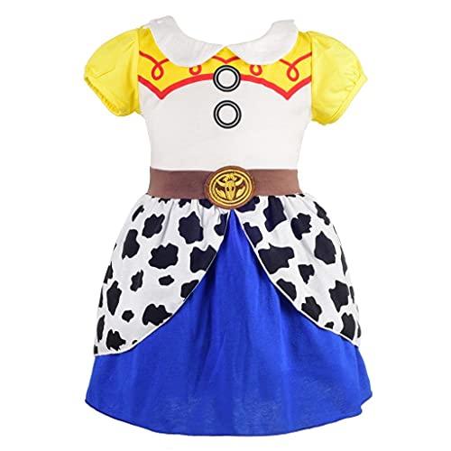 Lito Angels Disfraz de Jessie para Niña, Vestido de Fiesta de Cumpleaños de Verano Toy Story Vaquera Ropa Casual, Talla 6-7 años