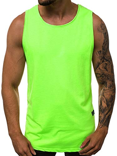 OZONEE Herren Tank Top Tanktop Tankshirt Ärmellos Bodybuilding Shirt Unterhemd T-Shirt Muskelshirt Achselshirt Ärmellose Training Gym Sport Fitness Freizeit Rundhals O/1205X GRÜN-NEON XL