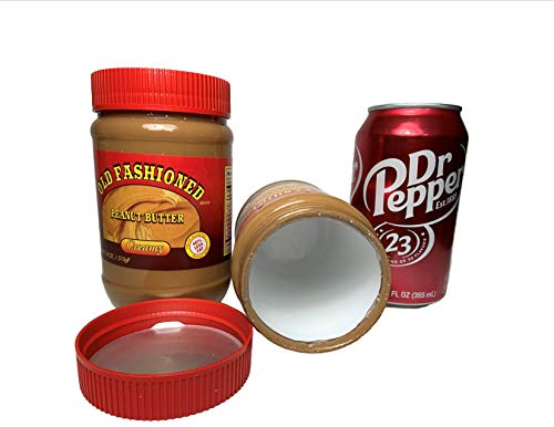 Fake Peanut Butter jar Stash Safes Diversion Secret Safe with Fake Dr Pepper Soda Can Container to Hide Money Jewelry Stuff (Best Way To Stash Weed)