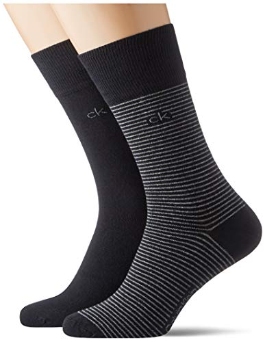 Calvin Klein Socks Mens Crew 2p fine Striped Stanley Socks, Black, 43/46