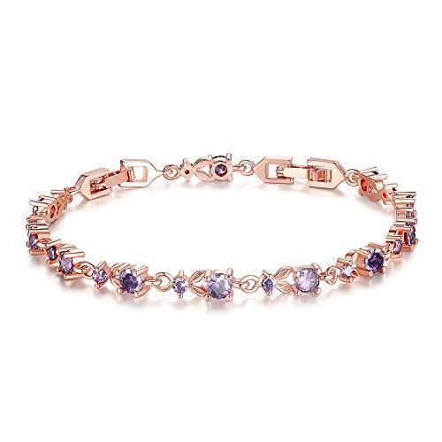 Bamoer lusso bellissimo bracciale placcato oro rosa con zircone scintillante 5Style pietre a scelta, base placcata in oro, colore: Purple-Rose, cod. B002-VT+BA01
