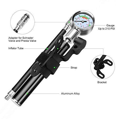 koiry Hochdruck Analog Mountain Bike MTB Luftfederung Dämpferpumpe Tragbarer Mini Luftpumpe – Schwarz, 1 - 6