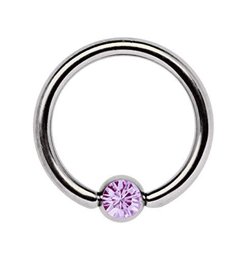 Piercing Íntimo, Piercing de Titanio Joyería Anillo Bcr 1,6 MM con Circonia Bola - luz Violeta