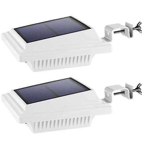 Dachrinne Solarlampe 40 LEDs - BILLION DUO Solarlampen für Außen | Weiße Warmweiße Solar LED Beleuchtung Zaunlicht, 3W Sicherheitswandleuchte Außenlampe für Garten, Garage, Patio, 2 pack