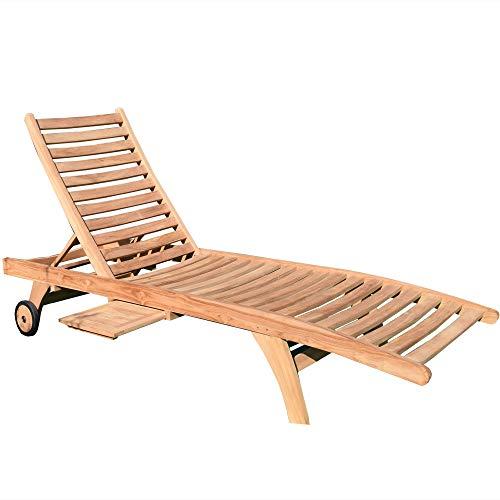 Teako Design Gartenliege Görz Teak unbehandeltes Massivholz Wetterfest robust Teakholz Sonnenliege Saunaliege Relaxliege