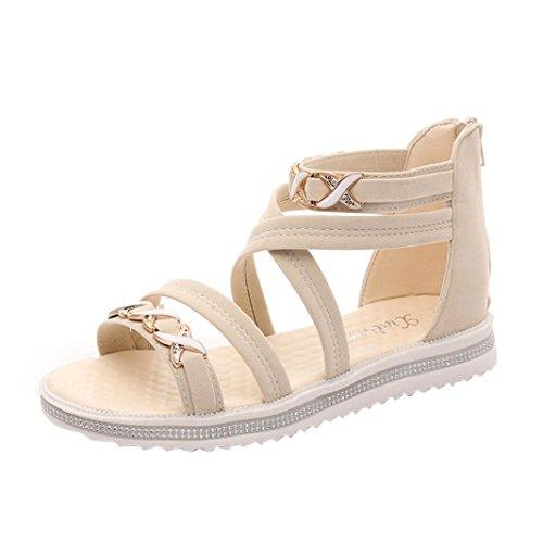 Yesmile Sandalias para Mujer Zapatos Casual de Mujer Sandalias de Verano para Fiesta y Boda Zapatos Planos del Ocio Sandalias de Cuero Suaves de Las Señoras (39, Beige)