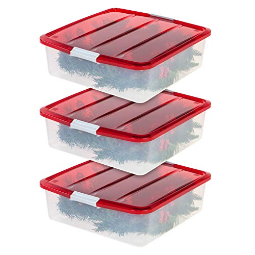 IRIS USA, Inc. BCB-SQ Wreath Storage Box, 3 Pack, Clear/Red