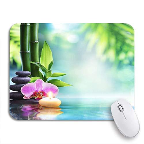 Gaming mouse pad spa stillleben kerze und stein bambus in der natur rutschfeste gummi backing computer mousepad für notebooks maus matten