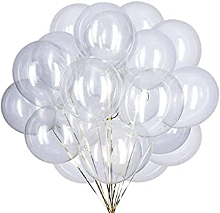 Maylai 100 Pack Clear Balloons 12 Inch(Thicken 3.2g/pcs) Round Helium Clear Balloons for Wedding Birthday Christmas Party ...