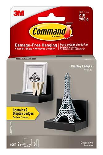 Command Display Ledges, Slate, 2-Ledges, 8-Medium Foam Strips, Decorate Damage-Free