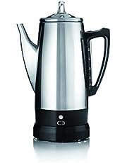 C3 Perkolator Basic – trådlös, elektrisk kaffebryggare för 2 till 6 koppar, rostfritt stål, silver