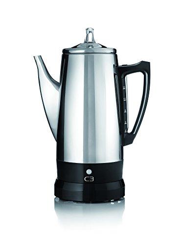 C3 Perkolator Basic - kabelloser, elektrischer Kaffeebereiter für 4 bis 12 Tassen, Edelstahl, silber