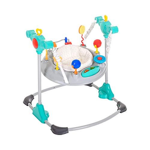 Hauck Jump-A-Round - Columpio y mesa de juego estable para bebes de 6 meses a 12kg, mesa de juegos y música, regulable en altura, giratorio, piezas de juguetes intercambiables, Hearts (gris turquesa)