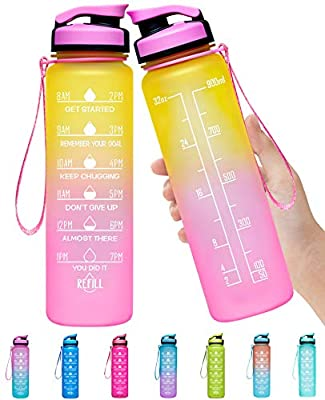 Elvira 32oz Large Water Bottle with Motivational Time Marker & Removable Strainer,Fast Flow BPA Free Non-Toxic for Fitness, Gym and Outdoor Sports-Yellow/Pink Gradient