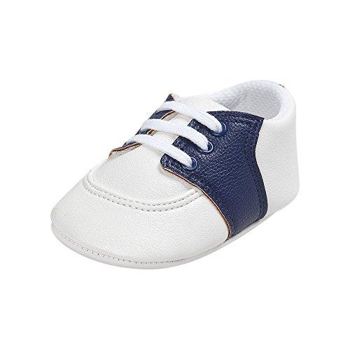 ESTAMICO Baby Jungen Mädchen Schuhe Säugling PU Leder Prewalker Sneakers Navy blau 0-6 Monate