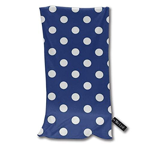 ZDmood Toallas de baño Toalla de baño con diseño de Lunares y Fondo Azul Marino superabsorbente, de 30 * 70cm