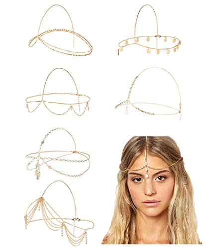 Milacolato 6 Stücke Gold Kopf Kette Schmuck für Frauen Mädchen Braut Böhmischen Halloween Party Cosplay Stirnband Haar Kopfschmuck