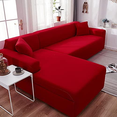 Zwykły narożnik narzuty na sofę do salonu Elastyczny spandeks narzuta na kanapę Pokrowce na sofę w kształcie litery L Potrzebujesz kupić 2 szt.Okładka na sofę, czerwony, 1 szt.3, siedzisko 190,230 cm