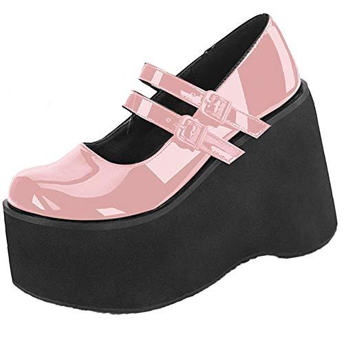 AOSPHIRAYLIAN Zapatos de plataforma Mary Janes con cuña gótica Lolita para mujer, color, talla 36.5 EU
