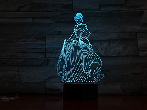 jiushixw 3D acryl nachtlampje met afstandsbediening kleurverandering tafellamp kind baby cadeau prinses cinderella cinderella afbeelding Hue grote tafellamp