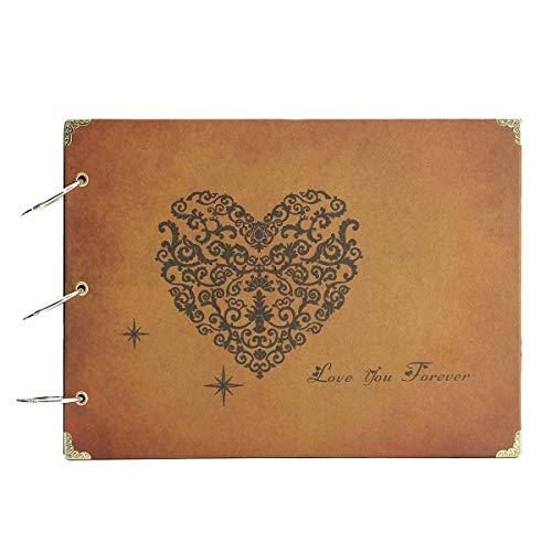ThxMadam Scrapbook,Album Photo La Saint Valentin Rétro Album Mariage Livre d'or Bricolage Vintage Noir Pages Livre Photo pour Noël Fête des Mères Anniversaire Cadeau(A-Love You Forever)