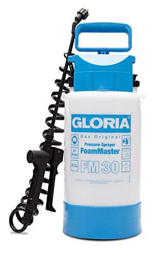 GLORIA FoamMaster FM 30 | Schaumsprüher | 3 L Füllinhalt | Drucksprüher zur Fahrzeugreinigung | Austauschbare Schaumpatronen | 2 m Spiralschlauch
